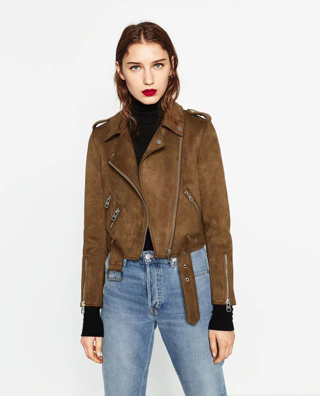 Veste cuir motard femme zara