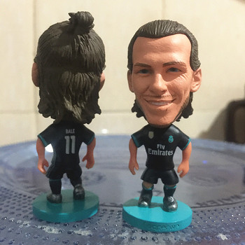 Soccerwe 6.5 cm Height Resin Football Star Doll RM 2018 Season 11 Gareth Bale Figure Away Black Color muñeco buffon
