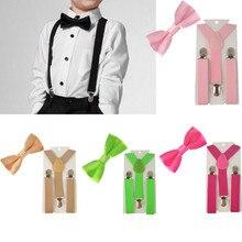 Комплект из 2 предметов; Детские подтяжки разных цветов для мальчиков; галстук-бабочка; легко носить для мальчиков; TR0003