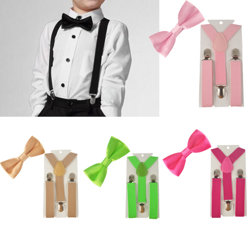 2PCS Diverse Color Boys Kids Suspenders BowTie Butterfly Tie Easy to Wear For Boy TR0003 toy story costumes adult