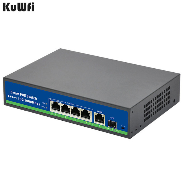 Gigabit 10/100/1000Mbps 48VPower 4Port POE Switch With 1Uplink And 1SFP Port For POE Camera Support VlAN MDI/MDIX Auto Flip