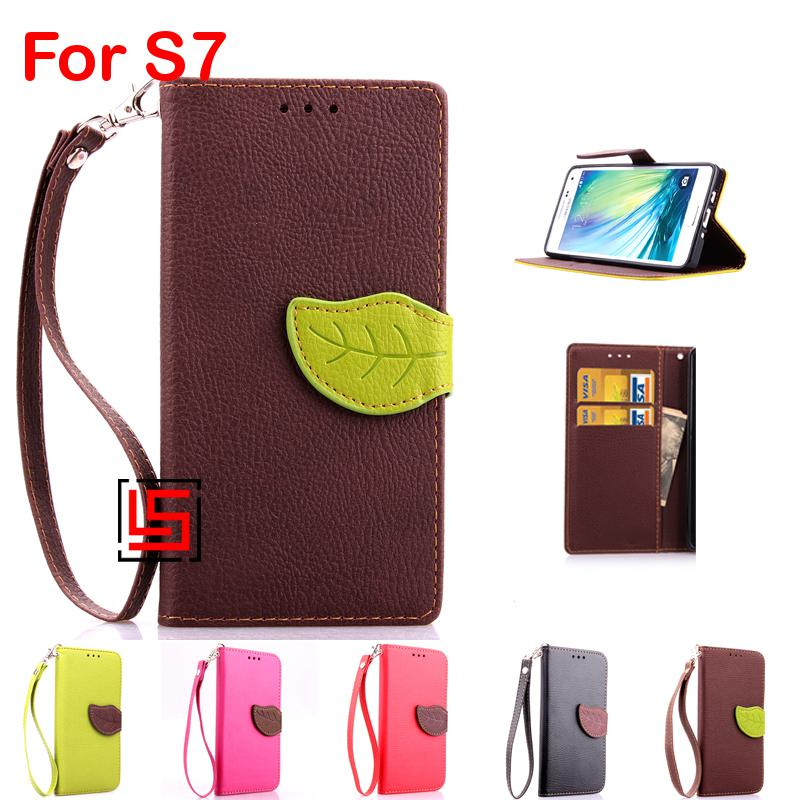 Leaf Clasp PU Leather Leathe Lather Flip Book Wallet Phone Case caso capinha Cover For Samsung Sansung Galaxy S7 SM G930F