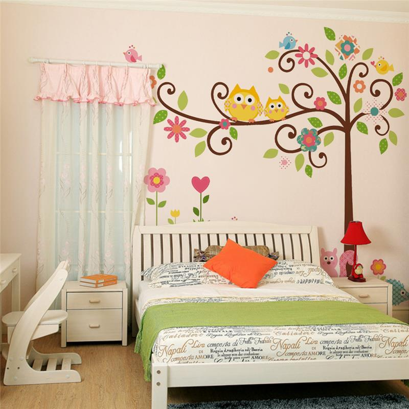 cute wise owls tree wall stickers for kids room decorations nursery cartoon children decals animals mural arts flowers colorful art