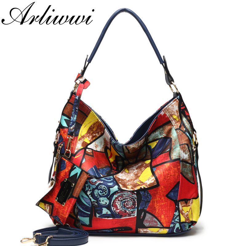 Arliwwi High Quality Totem Image Nylon Bags Women 2019 New Fashion Big Ladies Featured Elegant Crossbody