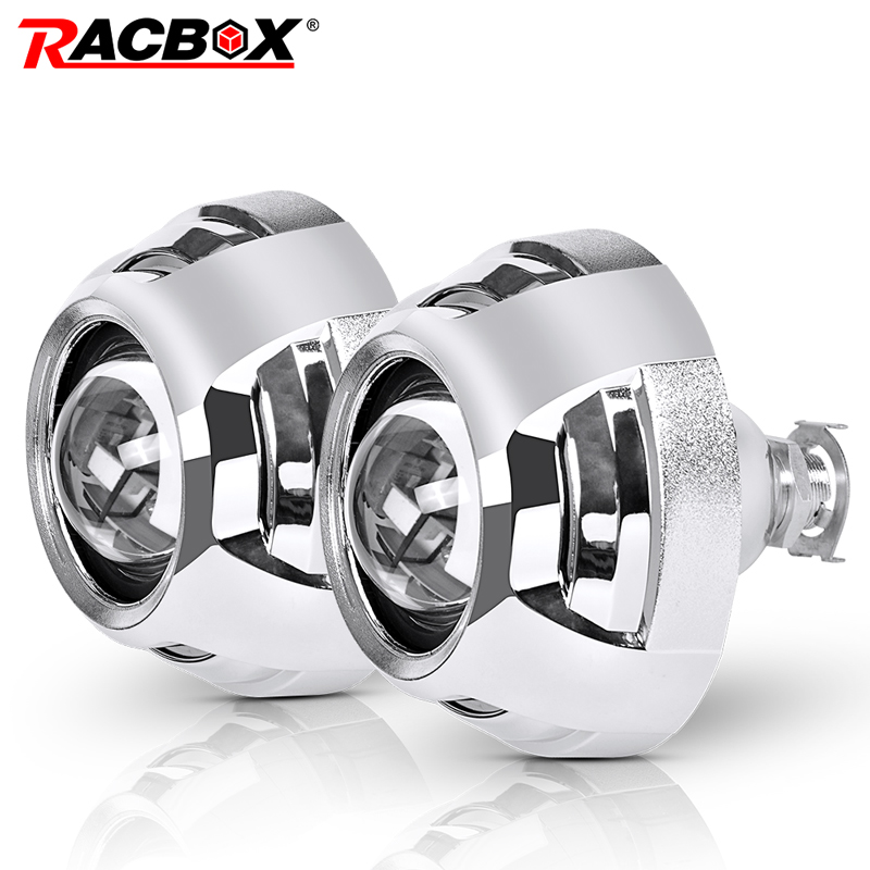 RACBOX For Posche Cayenne Panamera 2pcs 2 5 Inch Universal Bi xenon HID Projector Lens Silver