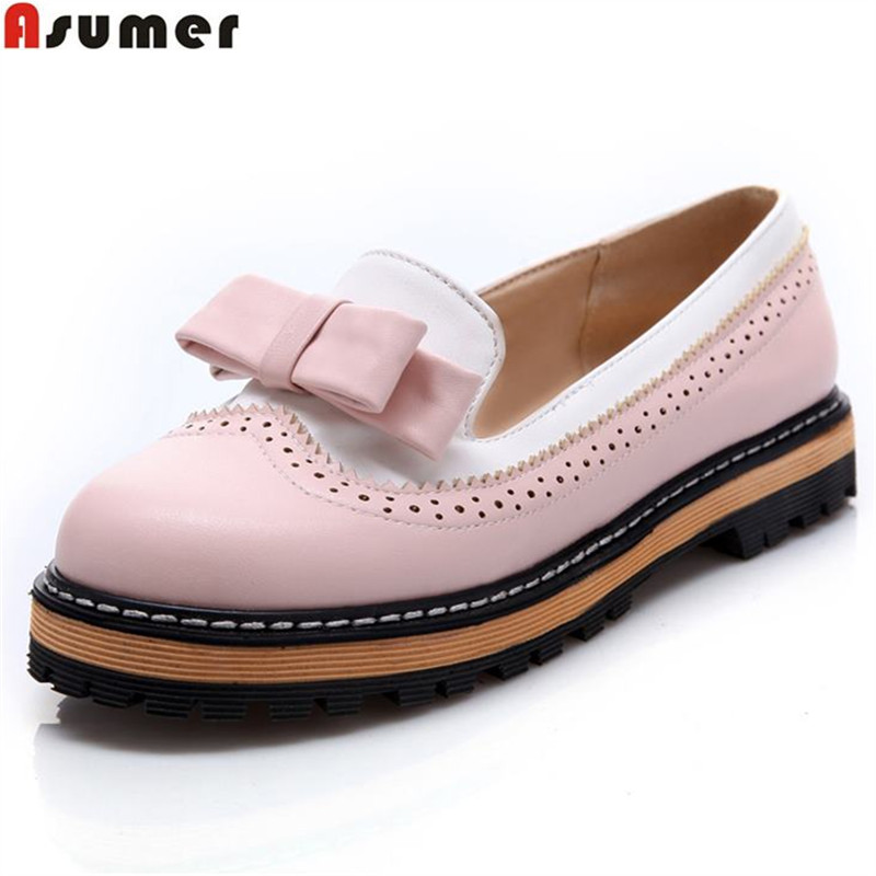 ASUMER Plus size 34-43 NEW platform flat shoes woman spring summer sweet casual women flats bowtie ladies party wedding shoes plus size 34 41 black khaki lace bow flats shoes for womens ds219 fashion round toe bowtie sweet spring summer fall flats shoes