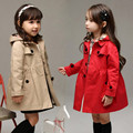 Children's clothing autumn girls trench coat with hood long-sleeve teenager girl thickening red khaki trench jacket outerwear