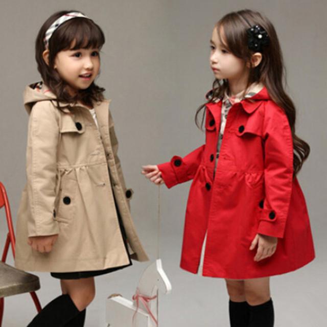 Ropa para niños otoño niñas capa de foso con capucha de manga larga adolescente niña engrosamiento chaqueta de trinchera prendas de vestir exteriores de color caqui rojo