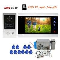 Free Shipping 720P AHD HD 7 Screen Video Door Phone Intercom Record System Motion Detection RFID