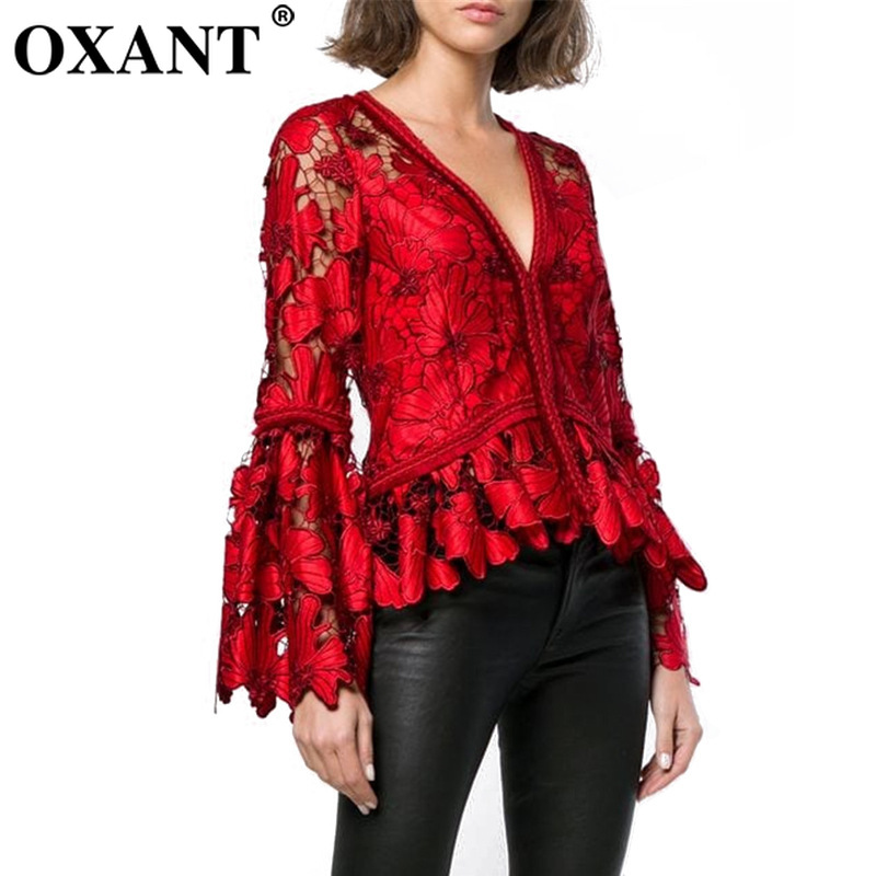 OXANT Women's Lace Shirt Haute Couture Spring New Super Fairy Sexy Hollow V Neck Horn Sleeve Long Sleeve Red Women Tops