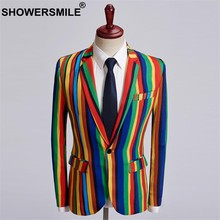 SHOWERSMILE Colorful Blazer Men Dj Club Stage Singer Clothes Men Party Striped Suit Jacket Fashion Singer Costume Plus Size 5XL(China)