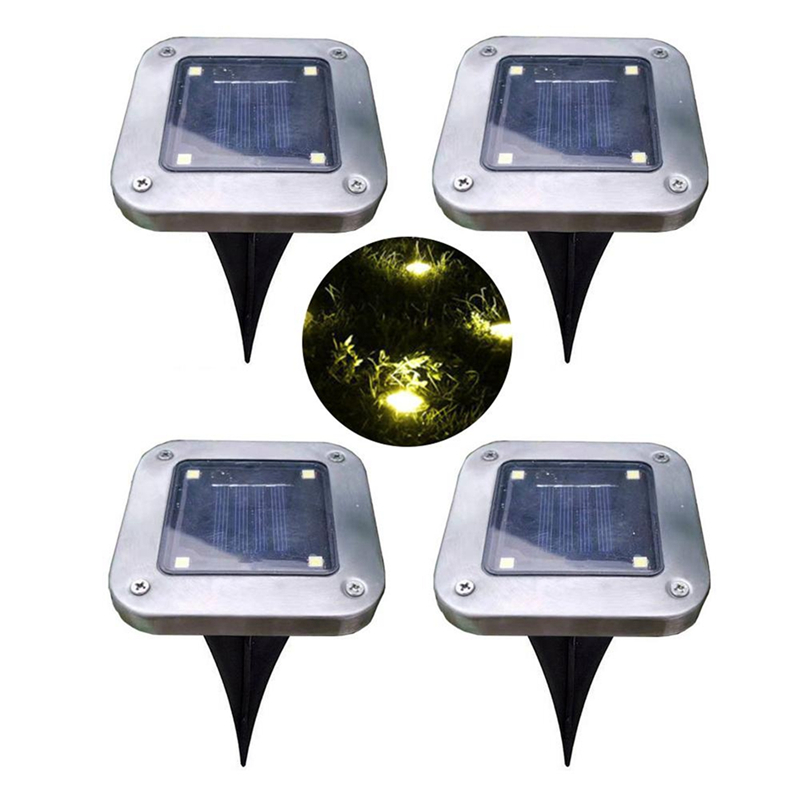 CLAITE Solar Power 4 LED Buried Light Ground Lamp Cool/Warm White Outdoor Path Lawn Garden Decking Under Ground Lamp Dropship
