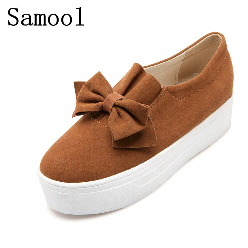 2017 Winter Spring Moccasin Womens Flats Fashion  Women Shoes Bowknot Lady Flats Loafers Ladies Slip-On Platform Big Size 34-44 flat shoes women pu leather women s loafers 2016 spring summer new ladies shoes flats womens mocassin plus size jan6