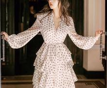 women chiffon v neck polka dot print laminated ruffles long cake dress ladies gown party sexy vestidos female