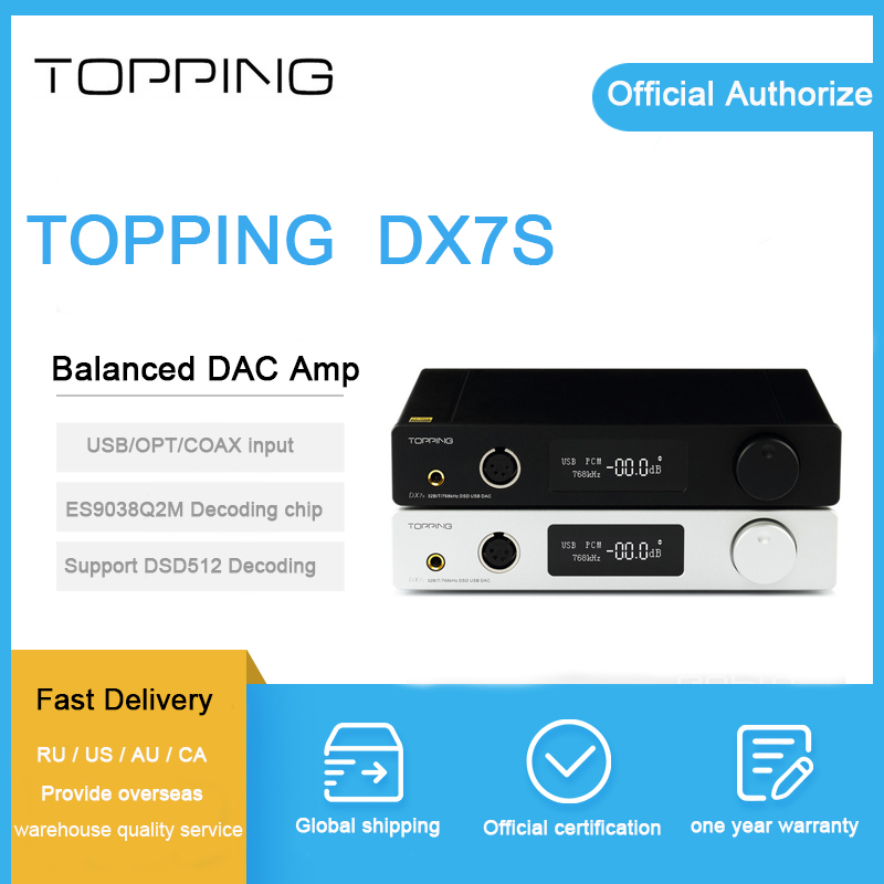 Topping DX7S Amplificatore Per Cuffie balanced ES9038Q2M 32Bit/768 k XMOS (XU208) + OPA1612 USB/OPT/AES/COASSIALE ingresso DSD512 amp coupon