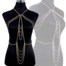Gold Tone Sexy Body Chains Women Tassel Alloy Fashion Dress Decor Body Belly Jewelry KQS