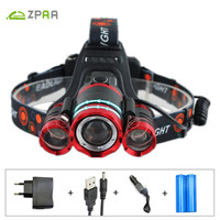 ZPAA Flashlight Forehead 12000 Lumens 3T6 18650 Rechargeable Head Torch 4 Lighting Modes Sensor LED Headlight