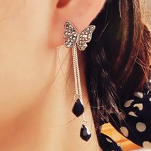2018 Korean Hottest Fashion Butterfly Pendant Long Section Tassel Water Drop Dangling Crystal Drop Earrings For Women Jewelry(China)