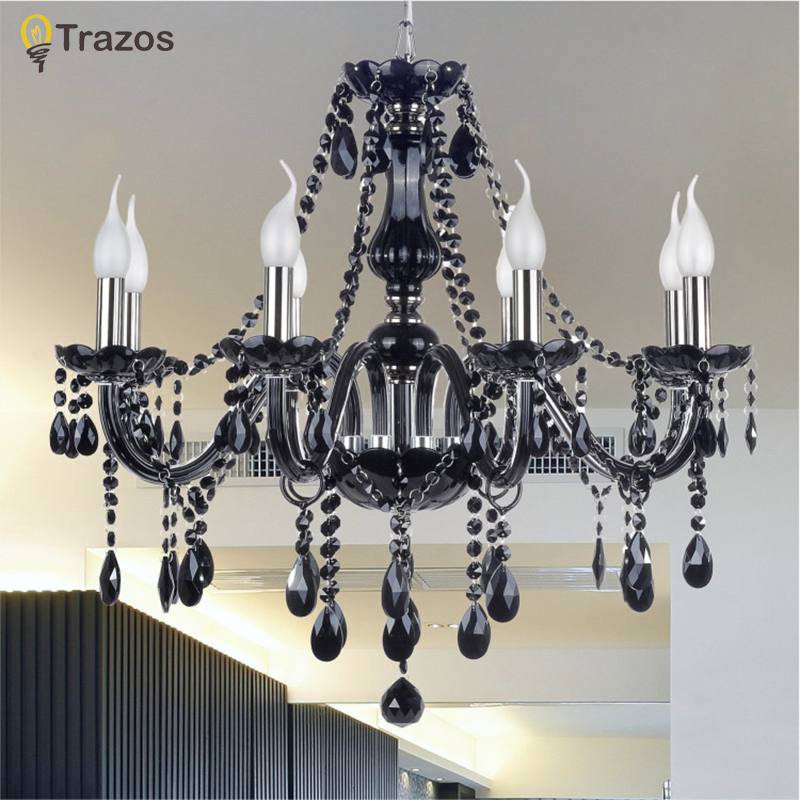 2017 Luxury Black Crystal Chandelier Living Room Lamp lustres de cristal indoor Lights Crystal Pendants For Chandeliers