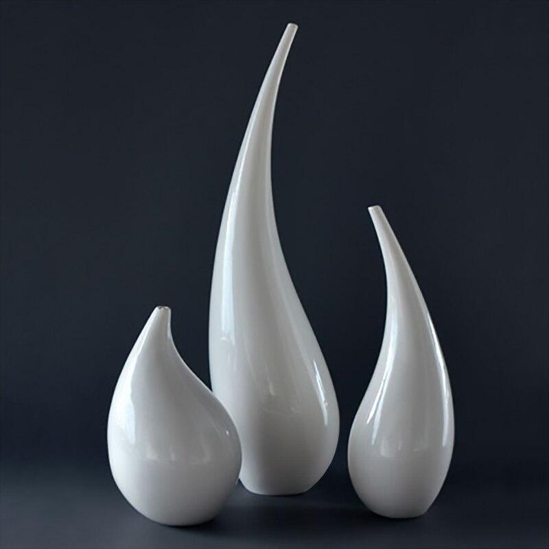 Abstract Grote Vaas Set Decoratieve Wit Porselein Moderne Bloemen ...
