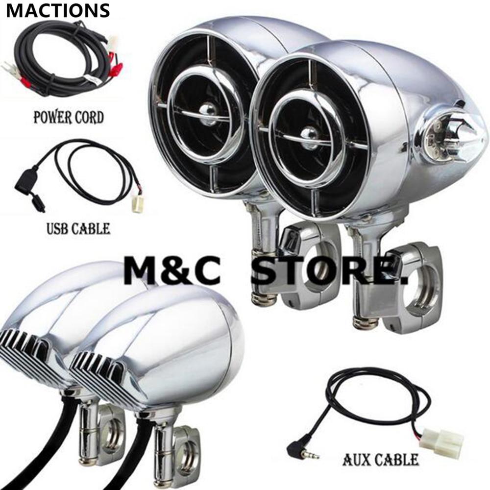 Black Chrome 1 1 25 Size Universal Motorcycle Audio Sound Speaker Hi Fi Sound MP3