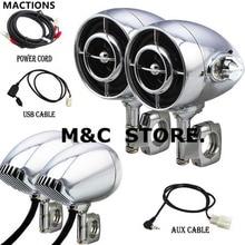 Altavoz de sonido cromado negro para motocicleta, de 1 /1,25, Hi Fi, MP3/WMA, Bluetooth, USB/AUX, para Harley