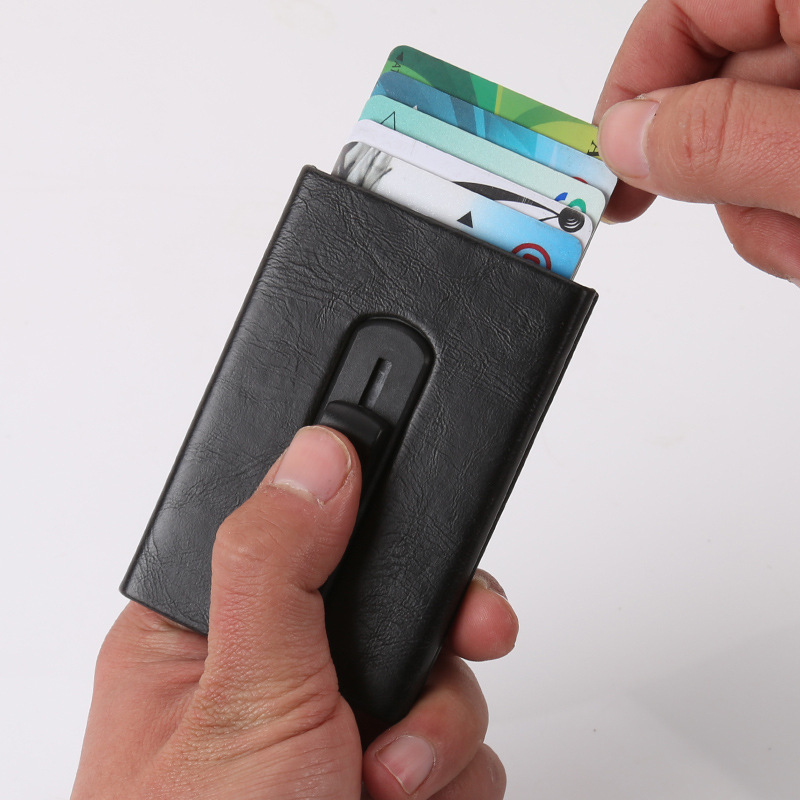 Mens Front Pocket Wallet RFID Blocking Business Card Holder Aluminum ...