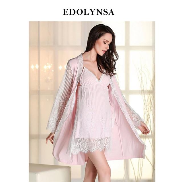 94dfab957a 2019 Soft Nightgown Robe Set Bridesmaid Robes Kimono Sexy Women Nightwear  Lace Dressing Gown Sleep Lounge Home Dress  P110
