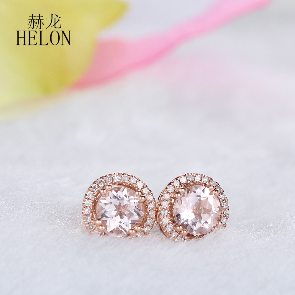 HELON Real Morganite 6mm Round Solid 10k Rose Gold Women Jewelry Delicate Diamond Earrings Halo Engagement Party Jewelry Earring trussardi delicate rose