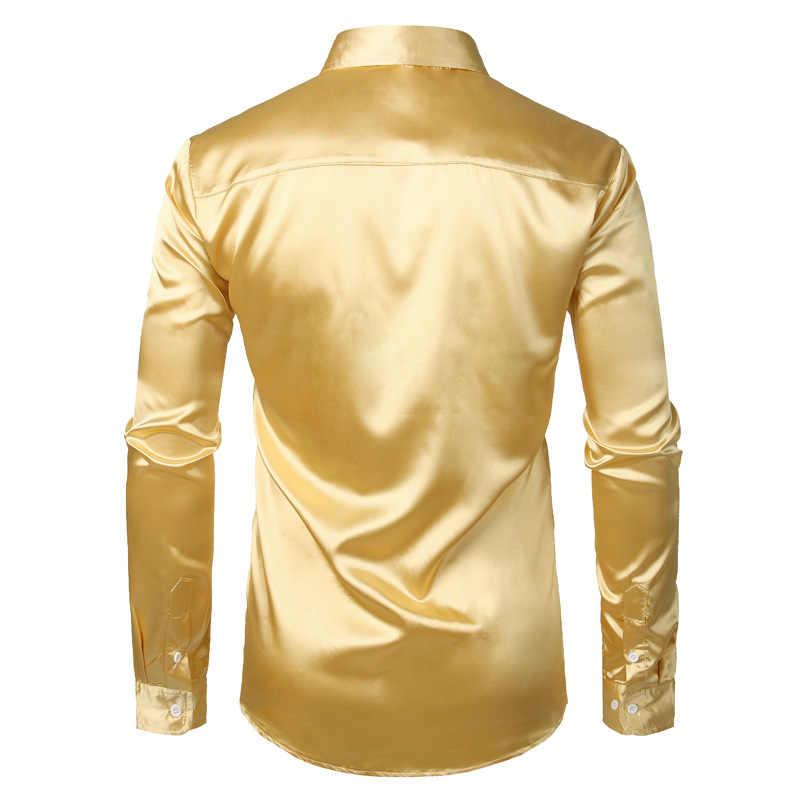 シルクサテンシャツ男性ブランド光沢のあるスムーズなメンズドレスシャツカジュアル黒のタキシードの結婚式シュミーズオムスリムフィットソリッドカラーカミーサ