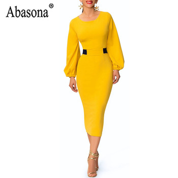 Abasona Yellow Pencil Dress Women O Neck Long Sleeve Split Woman Slim Midi Dress Ladies Fashion Patchwork Elegant Party Dresses