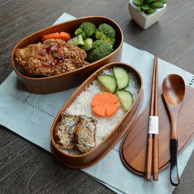 Environmental Wooden Lunchbox Japanese Style Wood Sushi Bento Box