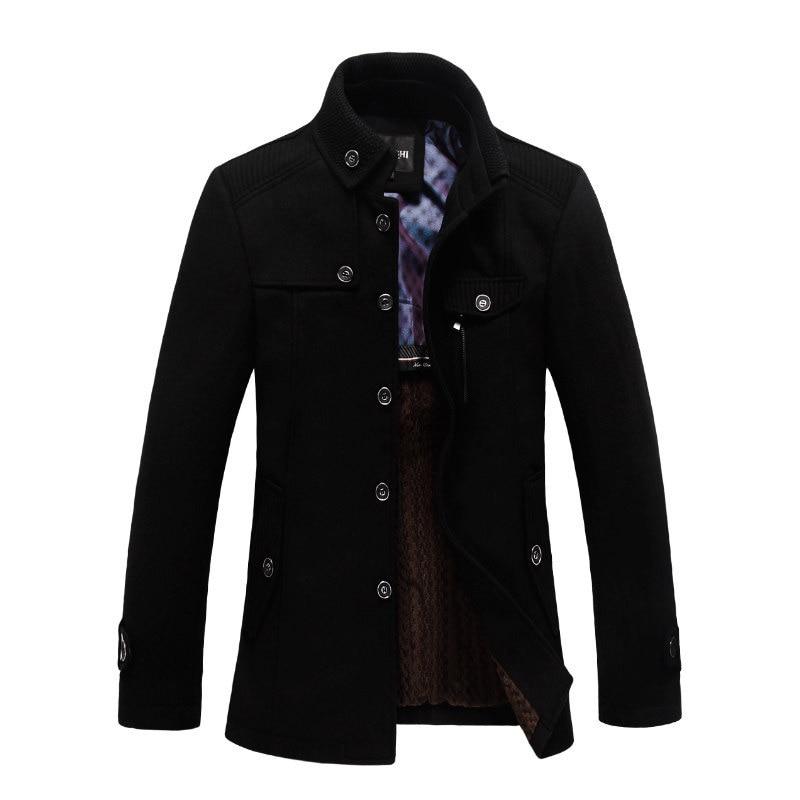 Winter New Fashion Trench Coat Woolen Coat Men Plus Size 2XL Trench Men Solid Casual Jacket Men Khaki Coats For Men