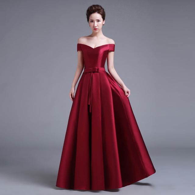 Elegant Satin A Line Maroon Wine Colored Red China Prom Dresses Lace
