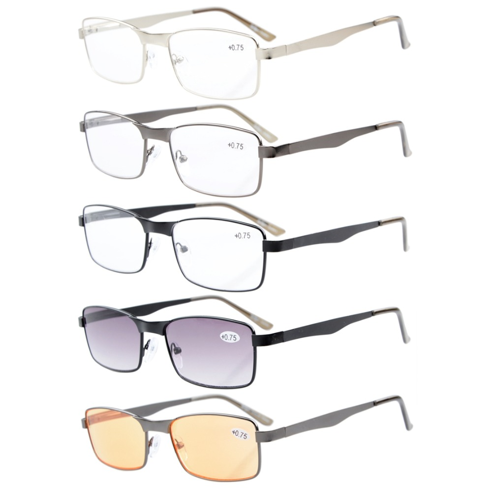 65c7e17f6 Eyekepper R15016 5-pack ميكس مستطيل إطار معدني الربيع المفصلات القراءة  نظارات وتشمل القراء نظارات القراءة الكمبيوتر