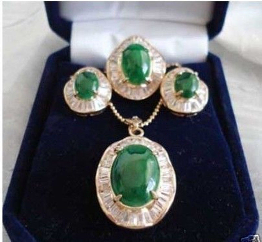 Wholesale price 16new ^^^^ewellery Green stone inlay zircon Earring Pendant Ring Sets wholesale price 16new ^^^^ewellery green stone inlay zircon earring pendant ring sets
