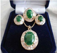 Wholesale price 16new ^^^^ewellery Green stone inlay zircon Earring Pendant Ring Sets