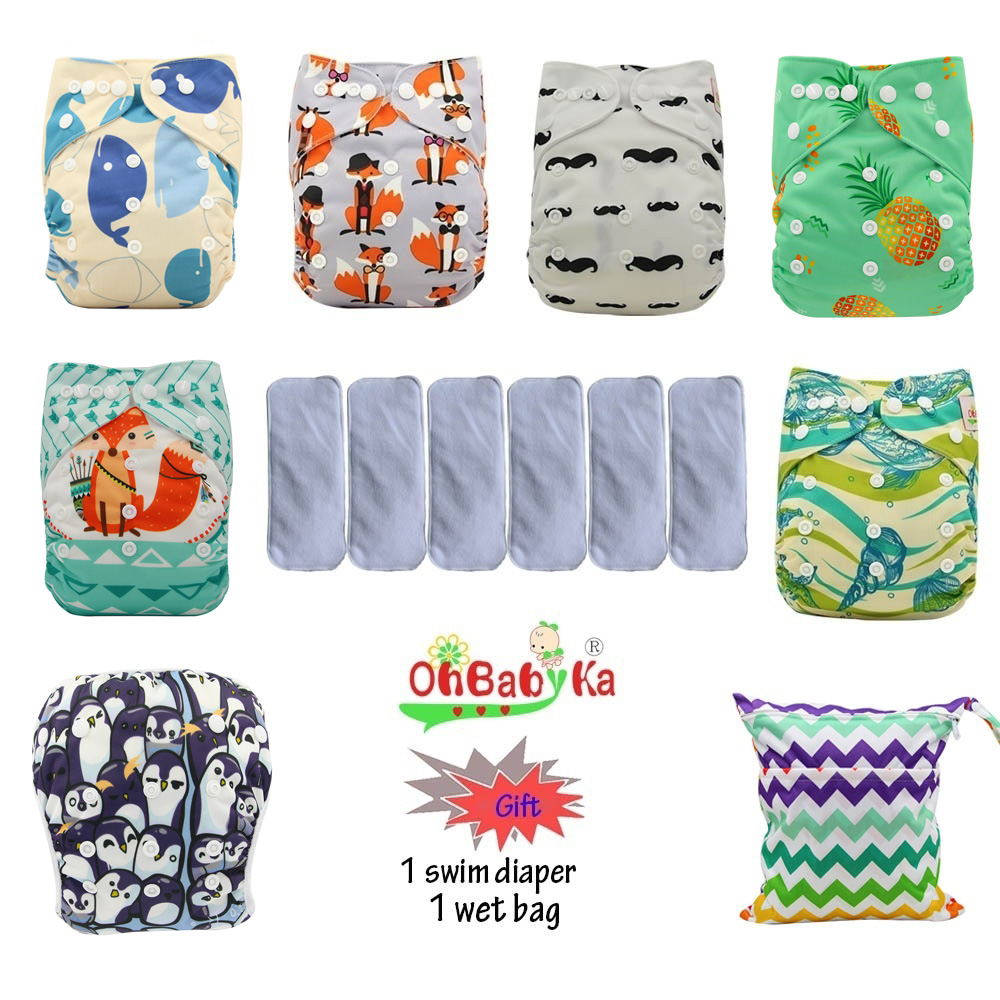 Ohbabyka Pocket Diaper Washable Reusable Diapers Baby Cloth Nappies Waterproof Diaper Cover 6pcs+6pcs Microfiber Inserts