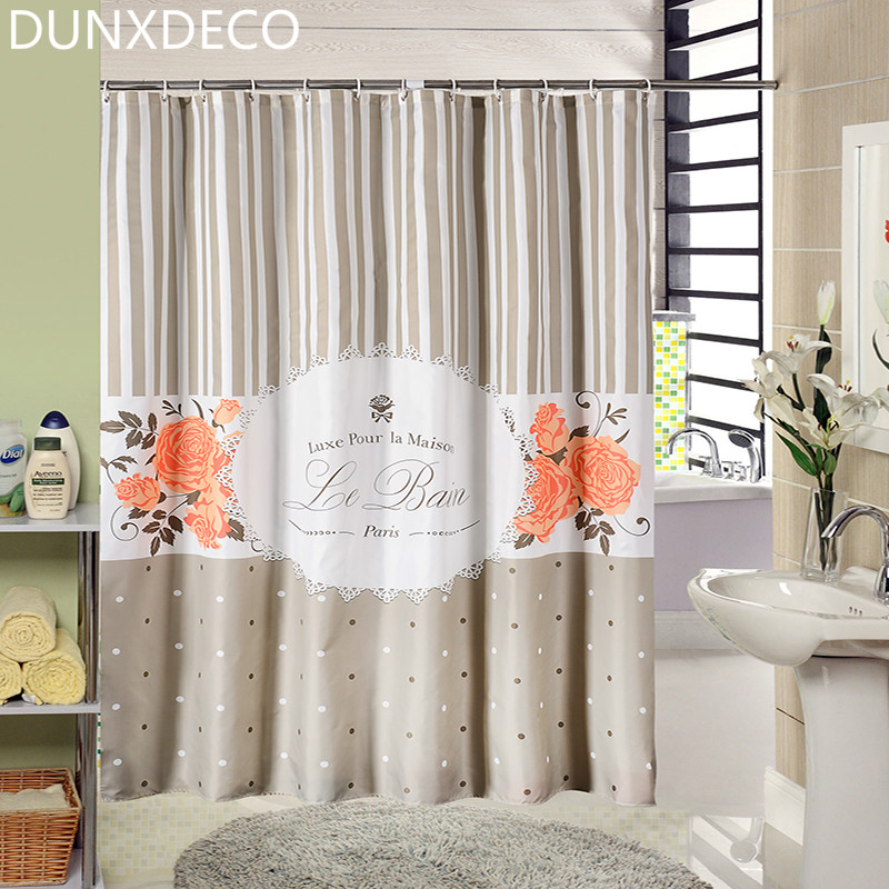 Dunxdeco French Style Flora Elegant Stripe Polyester Fabric Shower Curtain Bathroom Waterproof Curtain For Bath Shade
