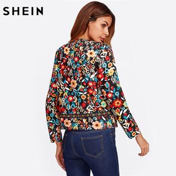 SHEIN Press Button Placket Botanical Jacket