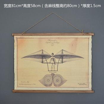 Large Retro Aircraft Linen Cloth Painting Scrolls Poster Mural Paintings Banners Hanging Art Office Loft Ornament Wall