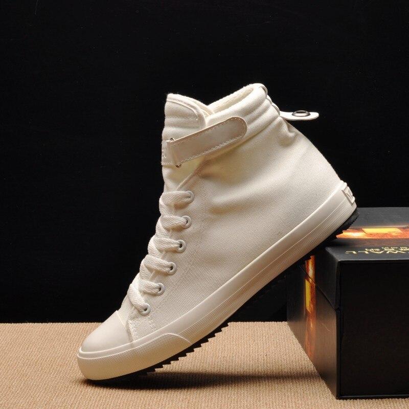 New Winter Men Casual Shoes Warm High-top Canvas Shoes Men Flats High Quality Short Plus Winter Men Shoes Zapatos Hombres White