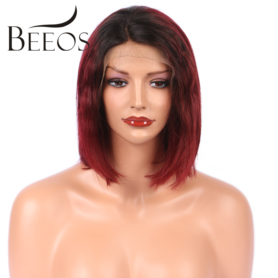 BEEOS 150 Density Brazilian Lace Front Human Hair Bob Wigs For Black Women Remy Short Red Ombre Wigs Bleached Knots No Tangle