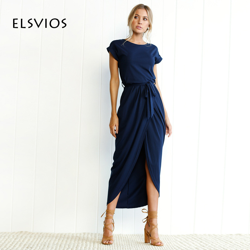 ELSVIOS Bohu Split Long Dress 2017 Fashion Women O-Neck Loose Maxi Dress Summer Short Sleeve Solid Dress With Belt Vestidos plus size short overalls