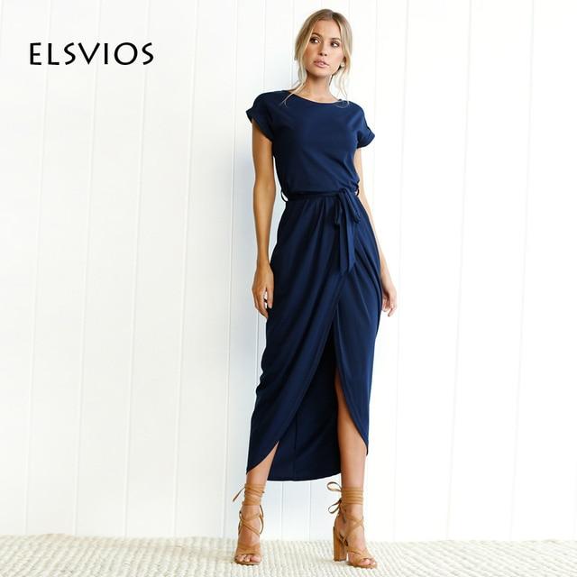 ELSVIOS 6 צבעים Boho פיצול ארוך שמלת אופנה נשים O-צוואר מקסי שמלת קיץ קצר שרוול מוצק שמלה עם חגורה Vestidos XS-3XL