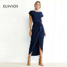 Elsvios 6 цветов Boho Разделение длинное платье модные женские туфли с круглым вырезом Макси платье летние шорты рукавом одноцветное платье с поясом Vestidos XS-3XL
