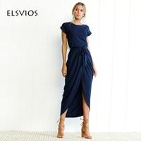 Elsvios 6色自由奔放に生きる分割ロングドレスファッション女性oネックマキシドレス夏半袖ソリッドドレスでベルトvestidos xs-3xl