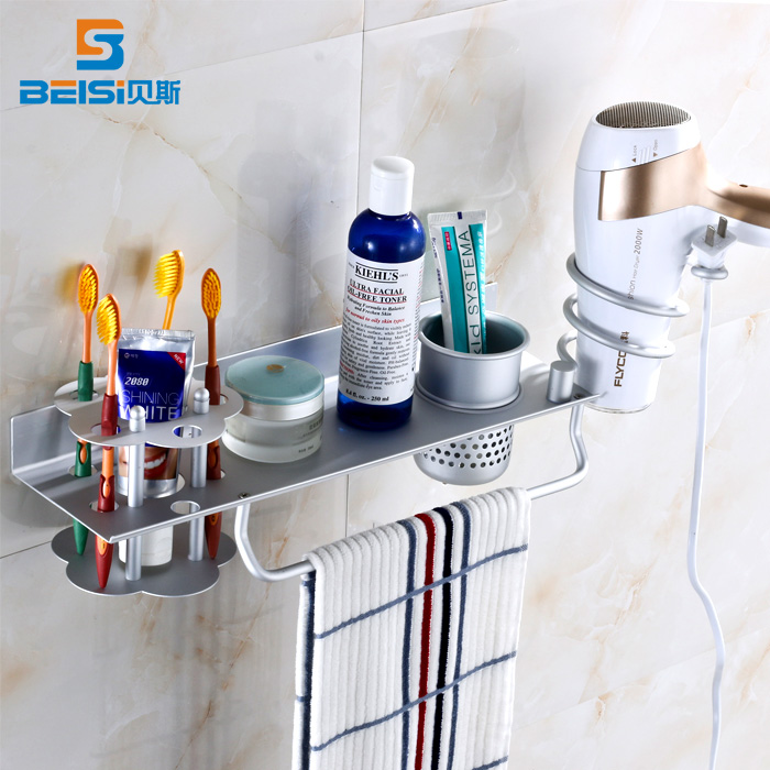 Bathroom Wall Mount Bath Storage Rack Toothbrush Holder Hairdryer Rack Towel Rack image