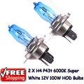 2 x H4 9003 HB2 P43T 12 V 6000 K 100 W Super White Car Auto HOD bombillas halógenas lámparas bombillas de los faros