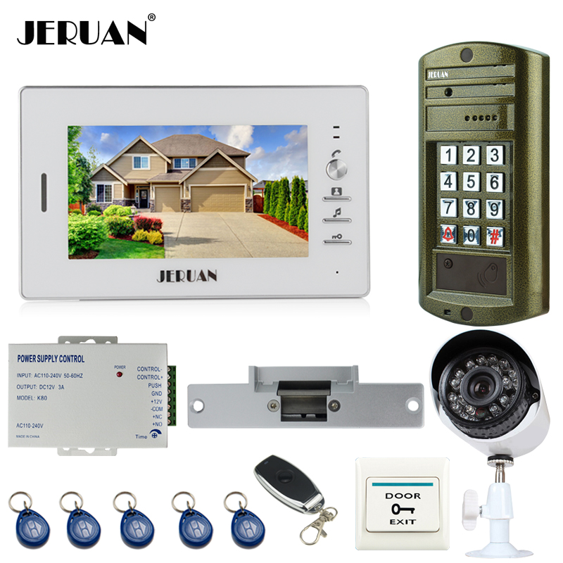 JERUAN Wired 7 inch TFT LCD Video Intercom Door Phone System kit Metal Waterproof password keypad HD Mini Camera+Analog Camera 7 inch video doorbell tft lcd hd screen wired video doorphone for villa one monitor with one metal outdoor unit night vision
